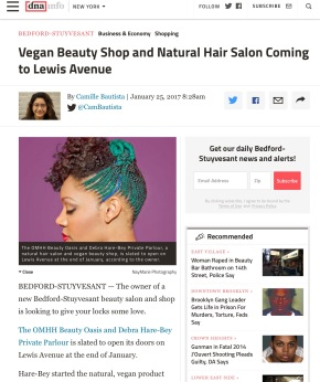 Press Release: dnainfo.com Article Features OMhh Beauty Oasis